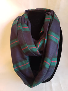 Winter Infinity Scarf in Navy Blue, Green, & Red Plaid