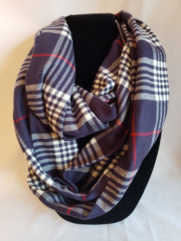 Winter Infinity Scarf in Navy Blue, White, & Red Plaid