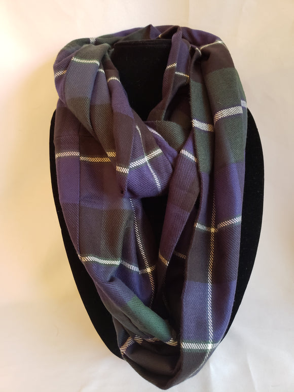 Winter Infinity Scarf in Dark Green, Navy Blue, & White Plaid