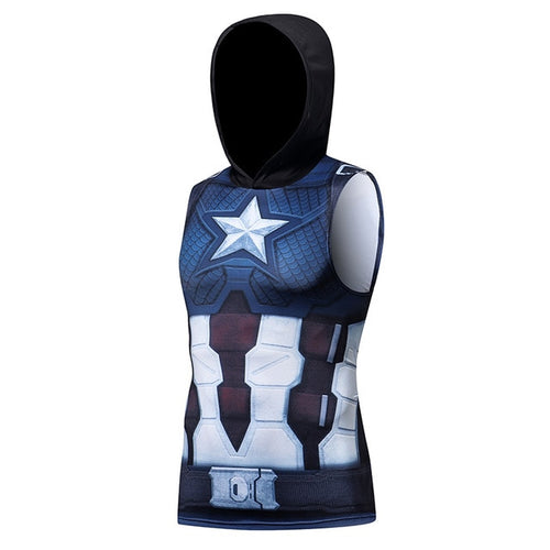 Captain America Sleeveless Compression Hoodie