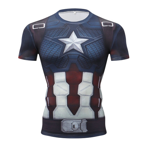Captain America Short Sleeve Compression Fitness Tee