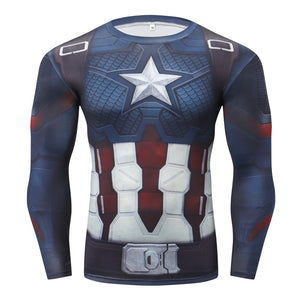 Captain America Long Sleeve Compression Fitness Tee