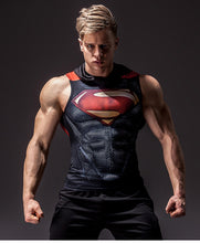 Load image into Gallery viewer, Superman Sleeveless Compression Hoodie
