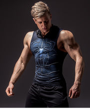 Load image into Gallery viewer, Dark Spiderman Sleeveless Compression Hoodie