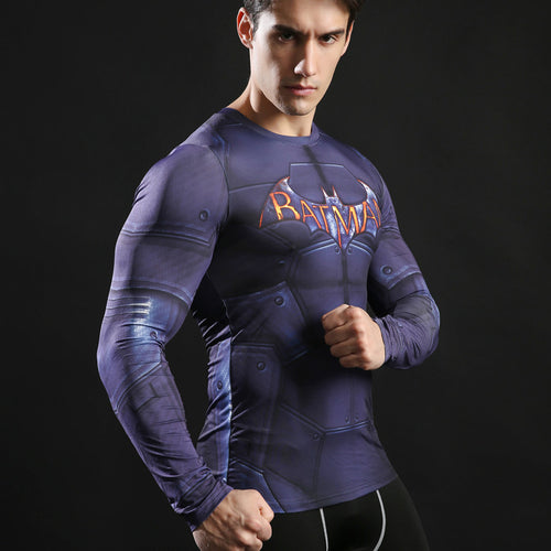 Classic Batman Long Sleeve Compression Fitness Tee