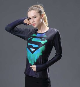 Supergirl Womens Long Sleeve Compression Fitness Tee
