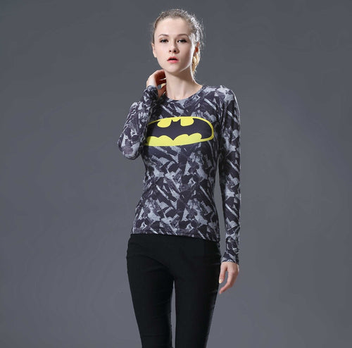 Batman Womens Long Sleeve Compression Fitness Tee