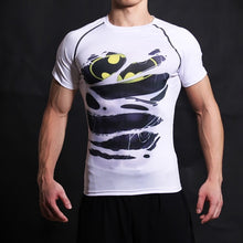 "Load image into Gallery viewer, Batman White ""Hidden Hero"" Short Sleeve Fitness Tee"