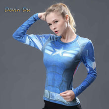 Load image into Gallery viewer, Captain America Womens Long Sleeve Compression Fitness Tee - Blue