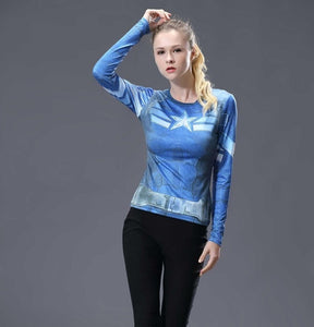 Captain America Womens Long Sleeve Compression Fitness Tee - Blue