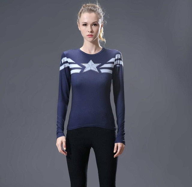 Captain America Womens Long Sleeve Compression Fitness Tee - Dark Blue