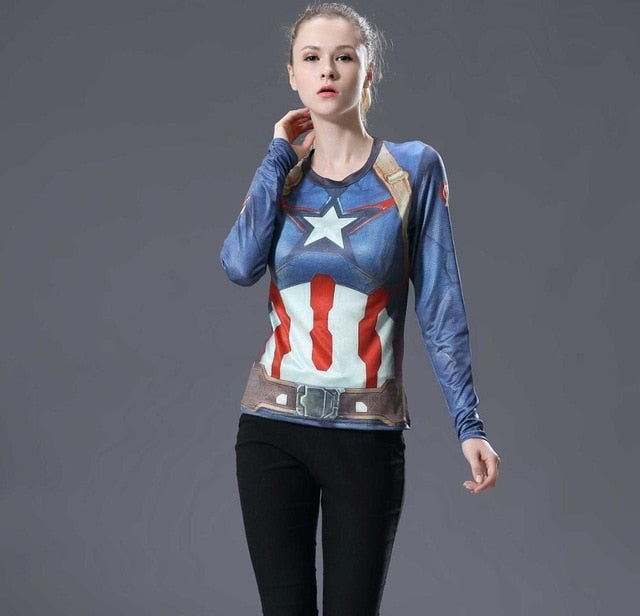 Captain America Womens Long Sleeve Compression Fitness Tee
