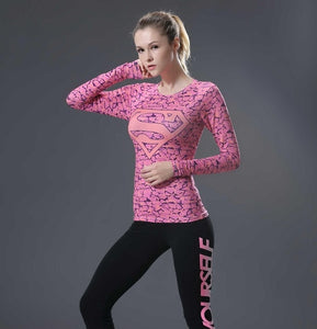 Supergirl Womens Long Sleeve Compression Fitness Tee - Pink/Pink