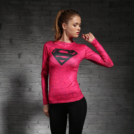 Supergirl Womens Long Sleeve Compression Fitness Tee - Pink/Black