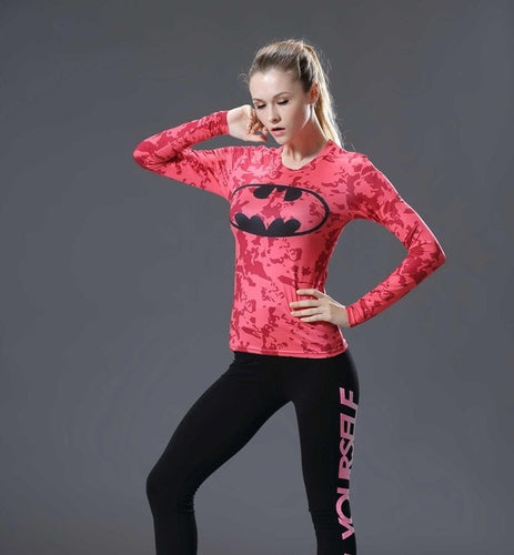 Batman Womens Long Sleeve Compression Fitness Tee - Pink/Black