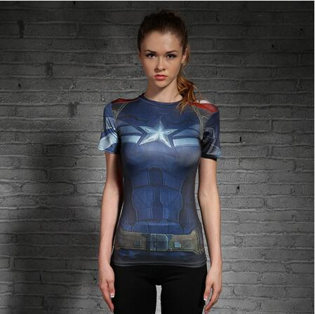 Captain America Womens Short Sleeve Compression Fitness Tee