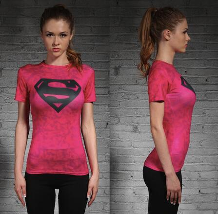 Pink Supergirl Womens Short Sleeve Compression Fitness Tee