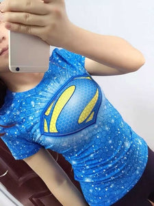 Blue Supergirl Womens Short Sleeve Compression Fitness Tee