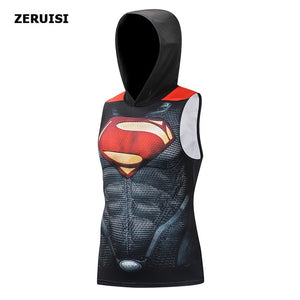 Superman Sleeveless Compression Hoodie