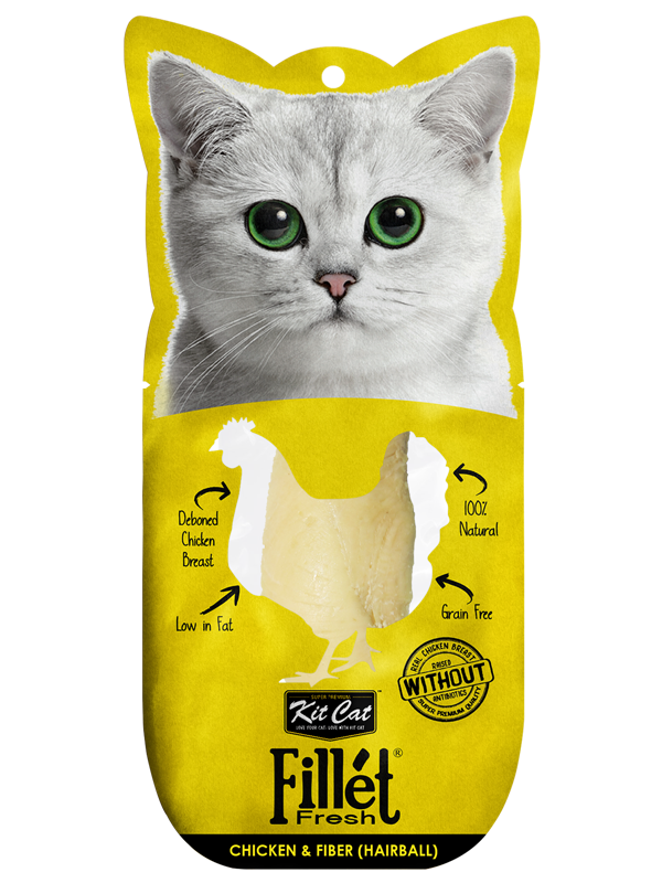 Kit Cat Fillet Fresh Cat Treats (30g) - Chicken & Fiber (Hairball + Raised without Antibiotic)