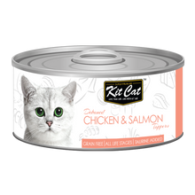 Load image into Gallery viewer, Kit Cat Deboned Chicken & Salmon Toppers Canned Cat Food (80g)