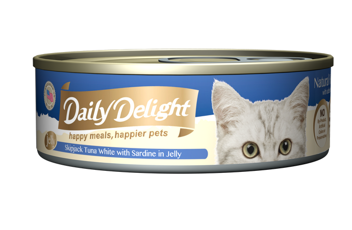 Daily Delight Skipjack Tuna White With Sardine In Jelly (80g)