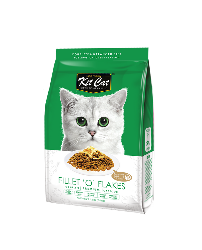 Kit Cat Premium Dry Cat Food - Fillet 'O' Flakes (2 Sizes)