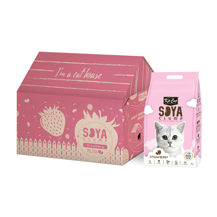 Kit Cat Soya Clump Cat Litter 7L (Strawberry)