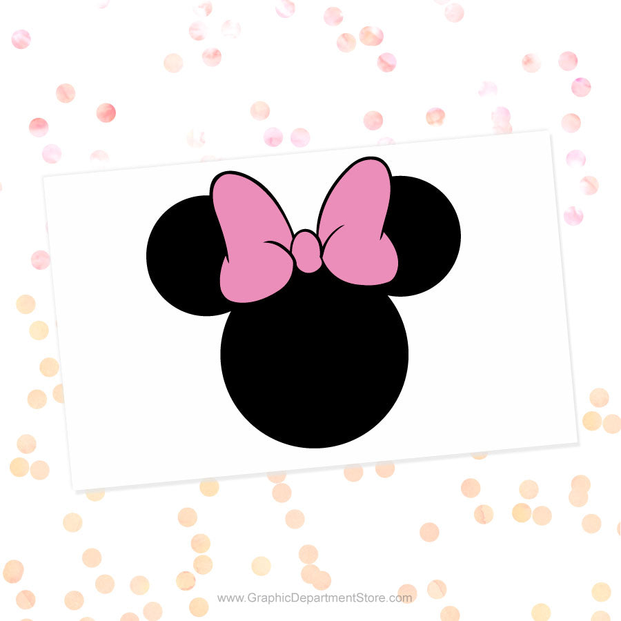 Minnie Mouse Head Pink Bow Svg Cut File Clipart