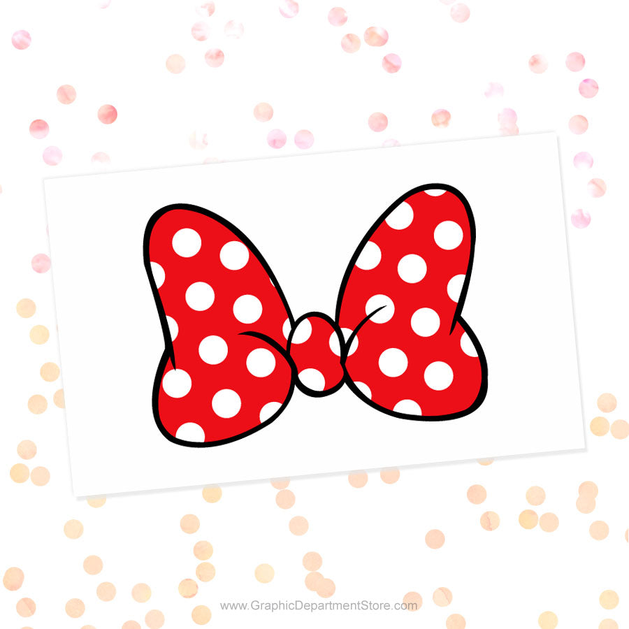 Minnie Mouse Polka Dot Red Bow Svg Cut File Clipart