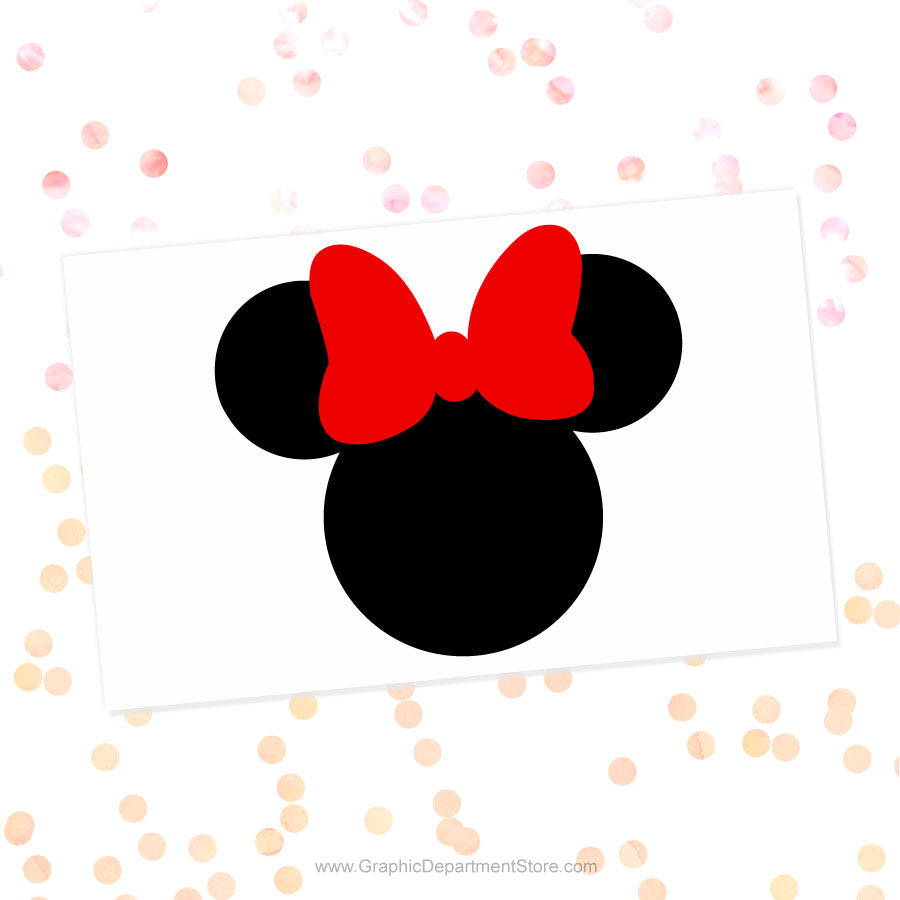 Minnie Mouse Red Bow Head Svg Cut File Clipart