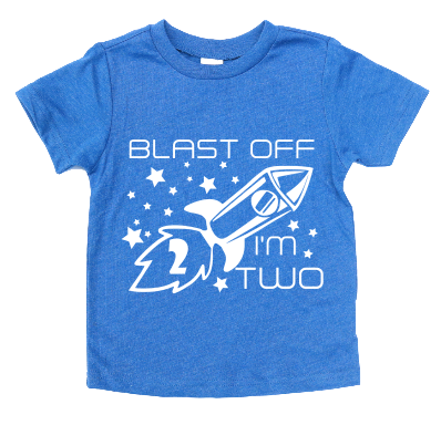 BLAST OFF I'M 2 KIDS SHIRT