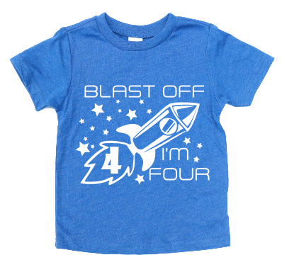 BLAST OFF I'M 4 KIDS SHIRT