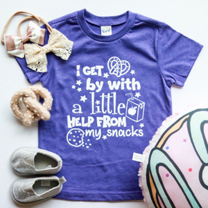 I GET BY WITH A LITTLE HELP FROM MY SNACKS KIDS SHIRT