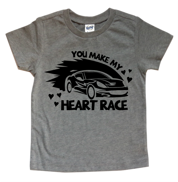 YOU MAKE MY HEART RACE KIDS SHIRT