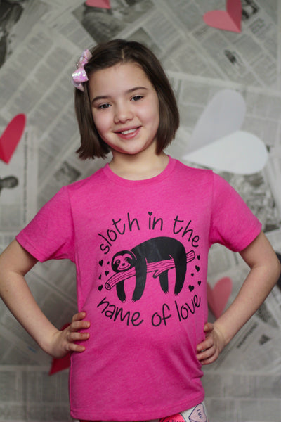 SLOTH IN THE NAME OF LOVE KIDS SHIRT