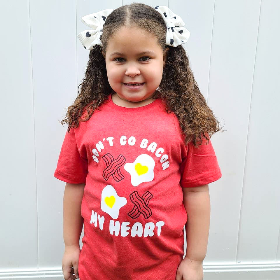 DON'T GO BACON MY HEART KIDS SHIRT