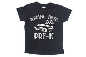 RACING INTO PRE-K KIDS SHIRT