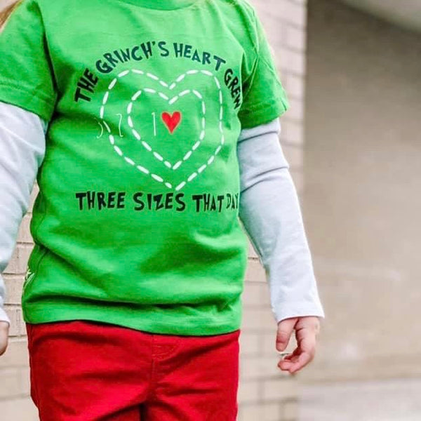 THE GRINCH'S HEART GREW THREE SIZES THAT DAY KIDS SHIRT