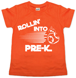 ROLLING INTO PRE-K KIDS SHIRT