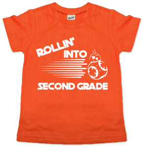 ROLLING INTO SECOND GRADE KIDS SHIRT