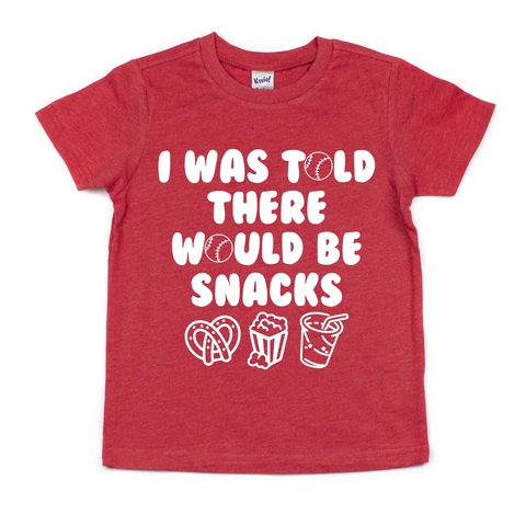 I WAS TOLD THERE WOULD BE SNACKS (BASEBALL EDITION) KIDS SHIRT
