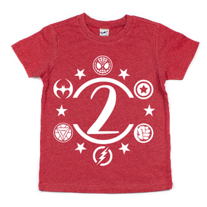 SUPER HERO 2ND BIRTHDAY KIDS SHIRT