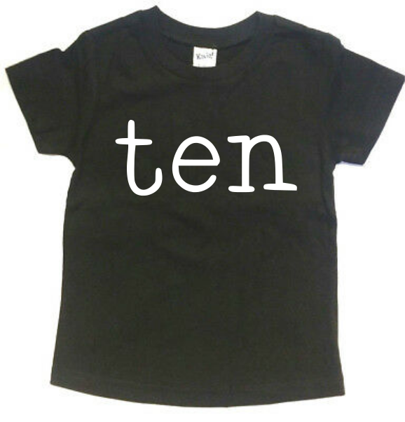 TEN TYPEWRITER BIRTHDAY KIDS SHIRT