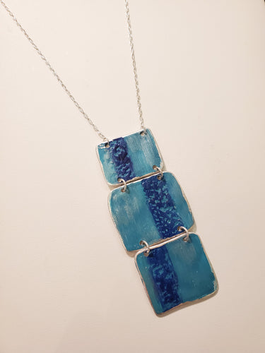 Triple Patina Square Necklace