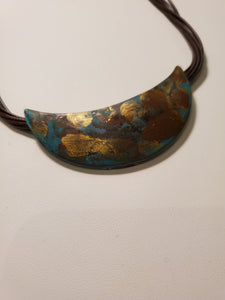 Multi Corded Patina Crescent Necklace
