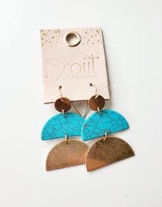 Scout Half-Moon Earrings Turquoise Gold