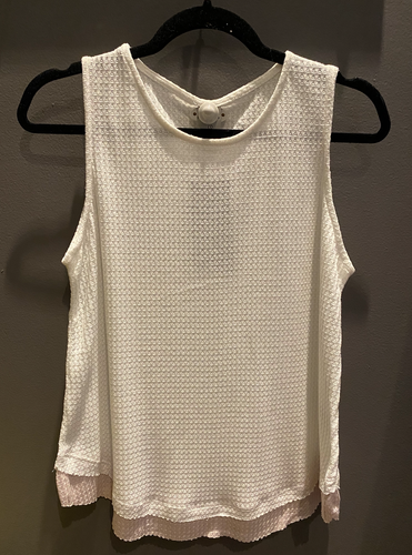 2 Tone Raw Edge Hem Tank Top White and T