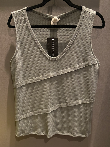 Slate Green 3 Layer and Raw Edge Tank