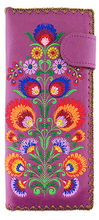 Load image into Gallery viewer, Polaska Flowers Long Wallet Purple